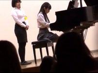 【※中出しレイプ※】ピアノ演奏会で色白美少女JKを犯す!舞台の陰に連れ込み無理やり中出し…!