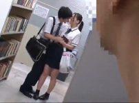 【※JKレイプ※】図書館でイチャつく色白JKを狙い強引に痴漢レイプ…!